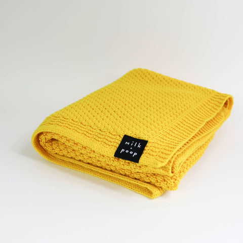 Merino Baby Blanket | Yellow - Milk and Poop
