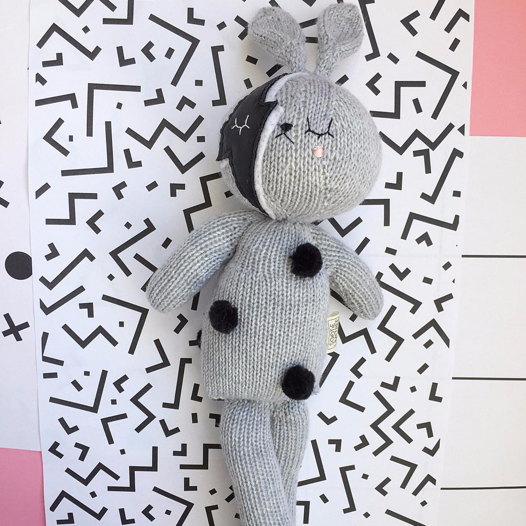 bowie bunny toy made from merino hand knitted