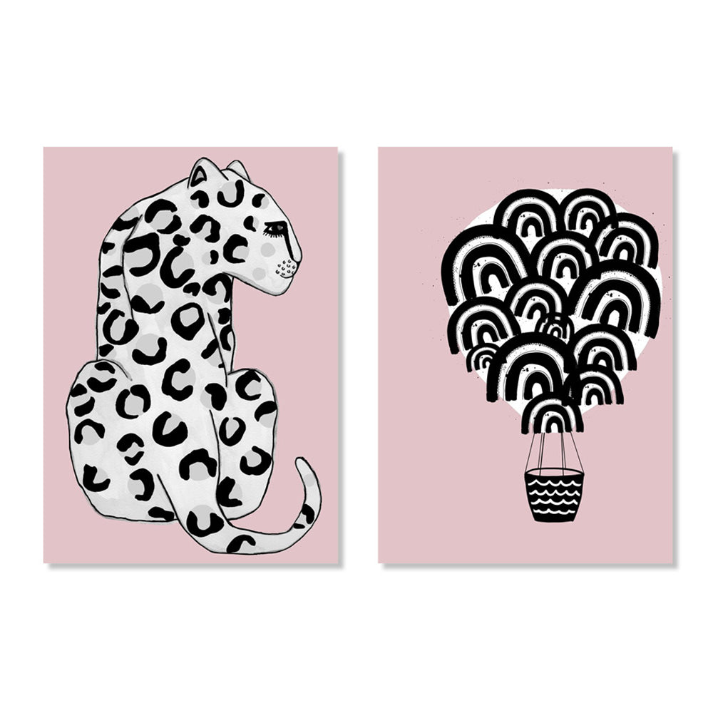 Pink Leopard & Pink Hot Air Balloon Posters - Milk and Poop