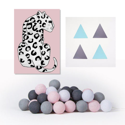 Poster, Mint/Grey Triangle Stickers & Pink/Grey Cotton Ball Lights - Milk and Poop