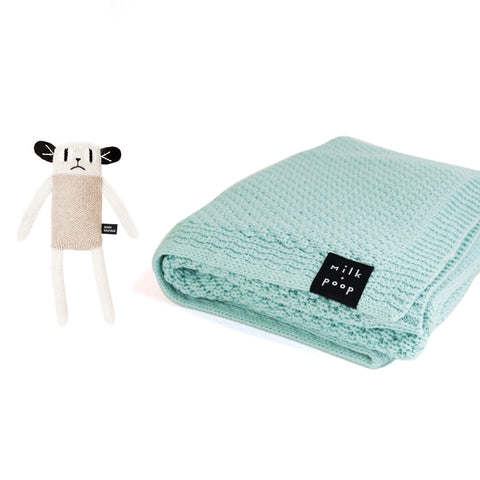 Knitted Merino Blanket (Mint) & Knitted Toy - Milk and Poop