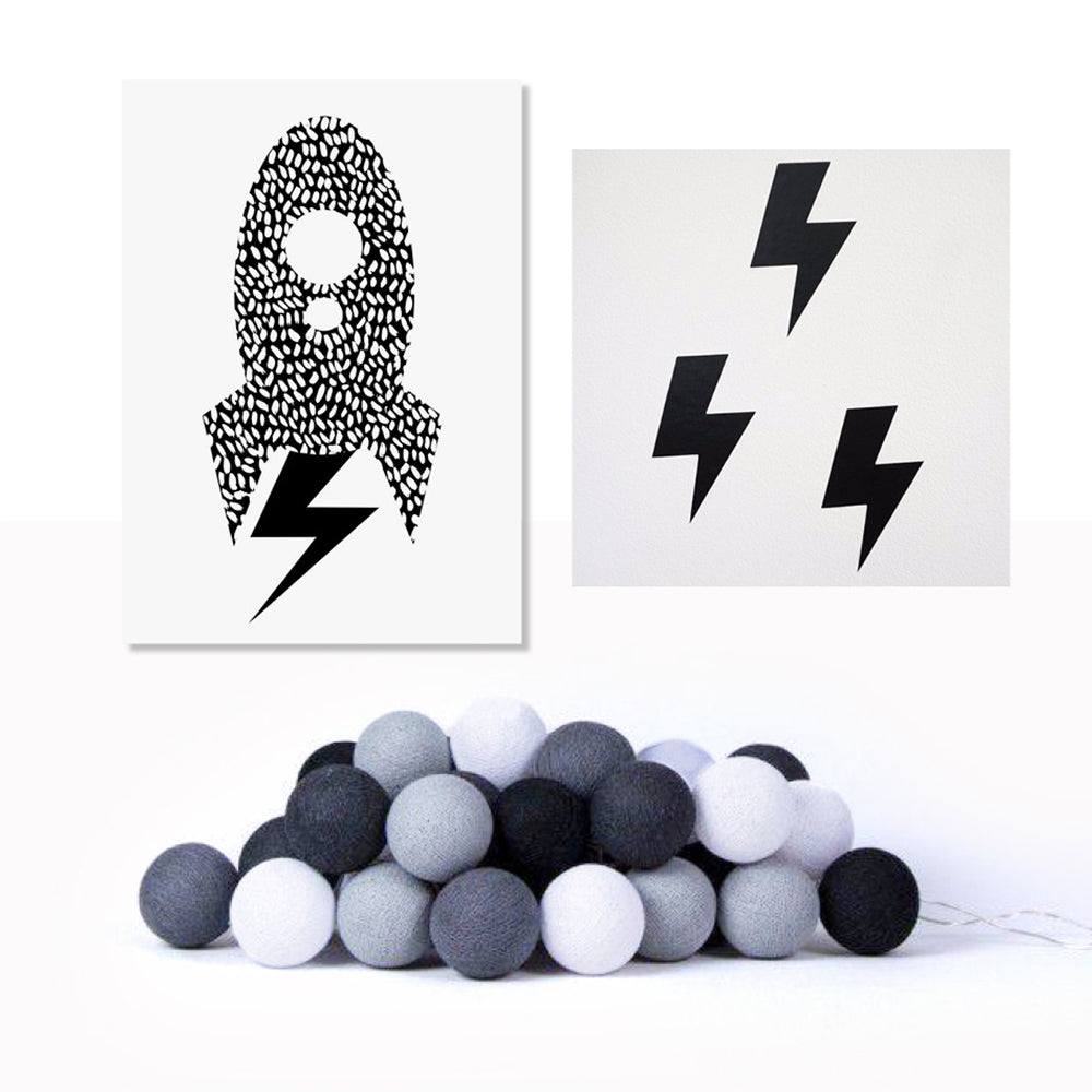 Poster, Lighting Bolt Stickers & Monochrome Cotton Lights - Milk and Poop