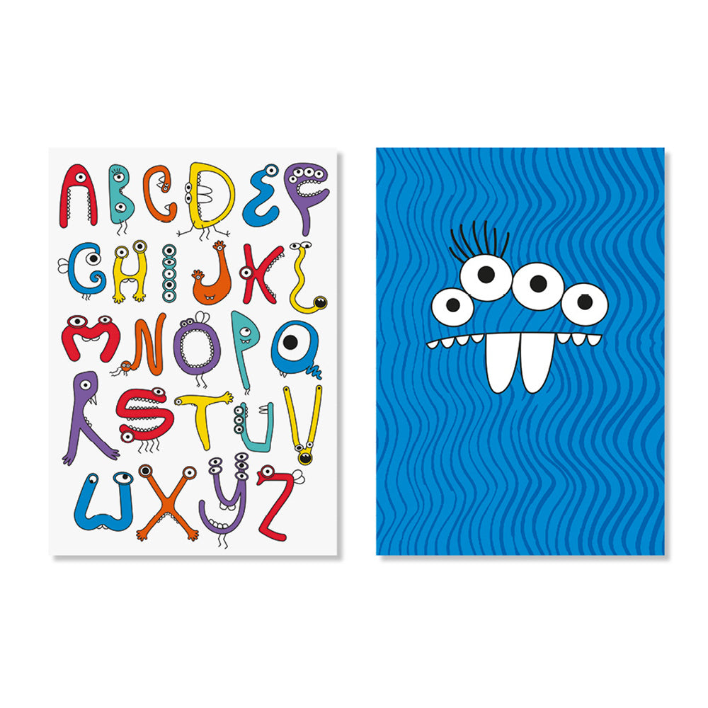 Monster Alphabet & Blue Monster Posters - Milk and Poop