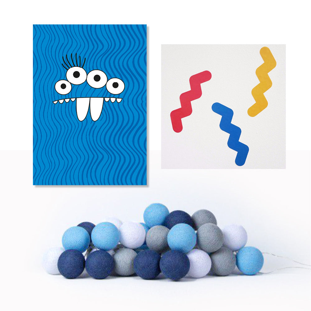 Poster, Squiggle Stickers & Sailor Blue Cotton Lights - Milk and Poop