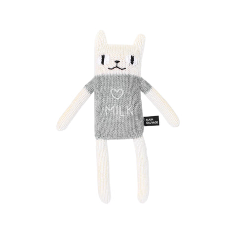 hand knit cat toy with grey I love Milk t-shirt