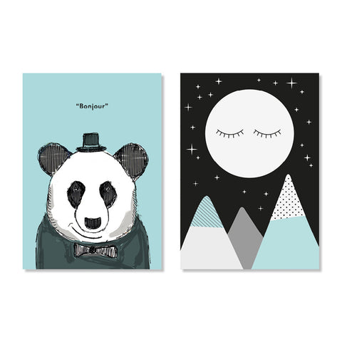Snoozy Moon & Dapper Panda Posters - Milk and Poop