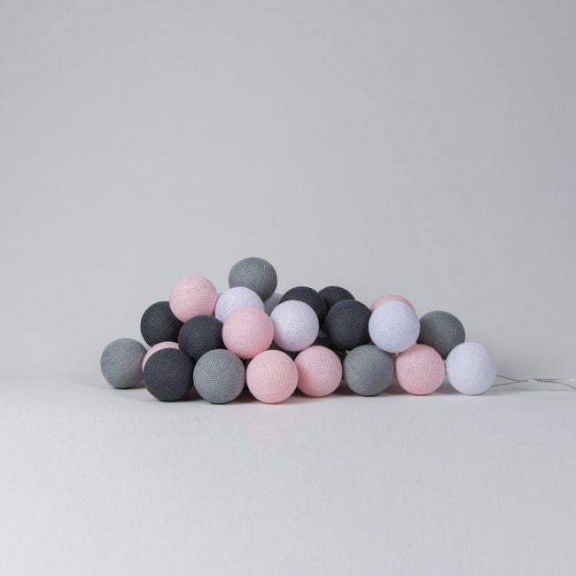 pink, grey and white cotton ball lights