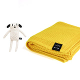 Knitted Merino Blanket (Yellow) & Knitted Toy - Milk and Poop