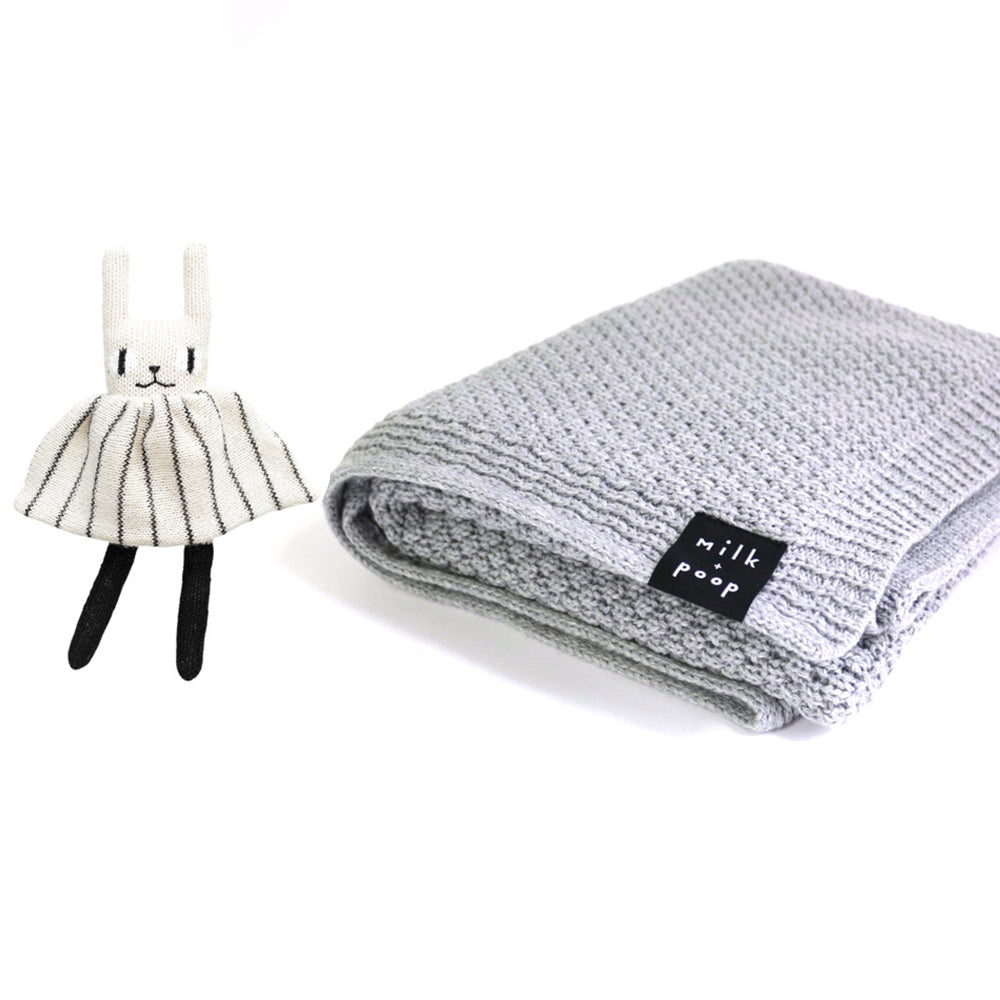 Knitted Merino Blanket (Grey) & Knitted Toy - Milk and Poop