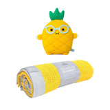 Yellow with Grey Trim Cellular Blanket & Toy - Milk and Poop
