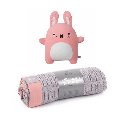 Grey With Rose Trim Cellular Blanket & Toy - Milk and Poop