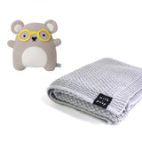 Knitted Merino Blanket (Grey) & Toy - Milk and Poop