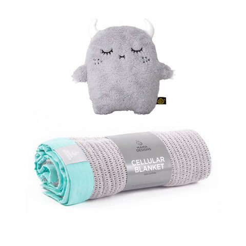 Grey With Mint Trim Cellular Blanket & Toy - Milk and Poop
