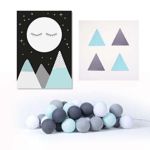 Poster, Mint/Grey Triangle Stickers & Mint/Grey Cotton Ball Lights - Milk and Poop