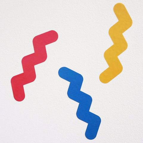 Squiggle wall stickers in yellow, blue and red