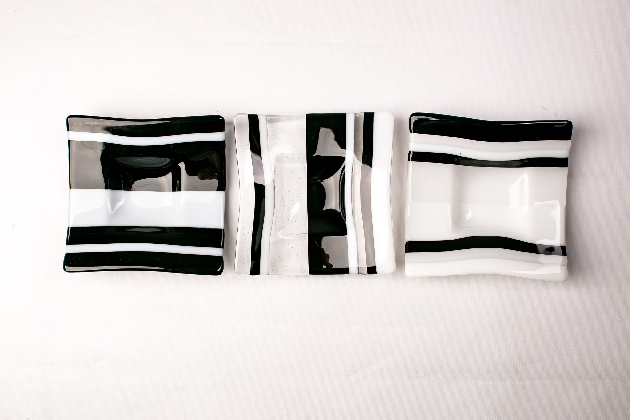 Black and White Striped Serving Bowls (Set of Three)