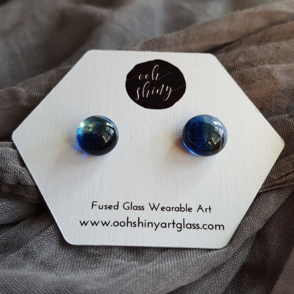 Sparkly Blue and Clear Stud Earrings