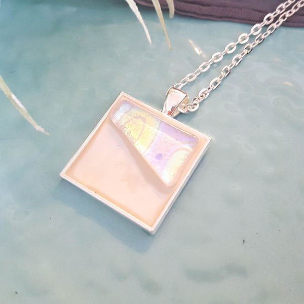 "Essential Oil Diffuser Necklace / Hand-Engraved Fused Glass + Artisan Concrete / 1"" Square Silver Bezel Setting / 22"" Silver Chain Necklace"
