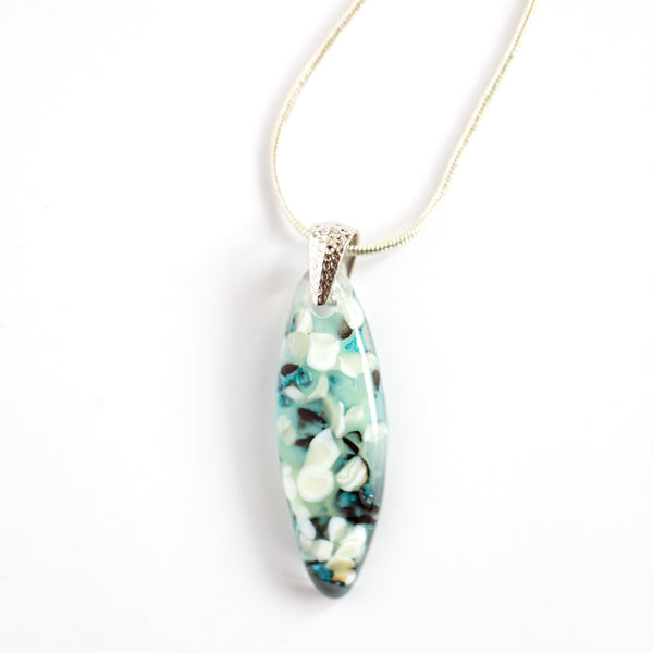 "Floating Pebbles Almond-Shaped Fused Glass Pendant Necklace / Teal + Mint + Seafoam + White + Black Fused Glass / Silver-plated nickel-free pinch bail / Silver-plated nickel-free 16-18"" snake chain necklace"