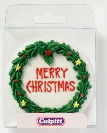 Round Christmas Wreath Plaque
