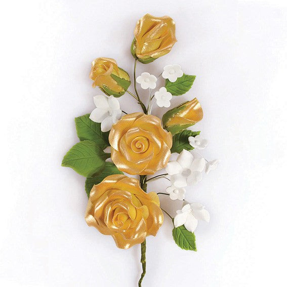 Gold Wired Flowers-Roses 145mm