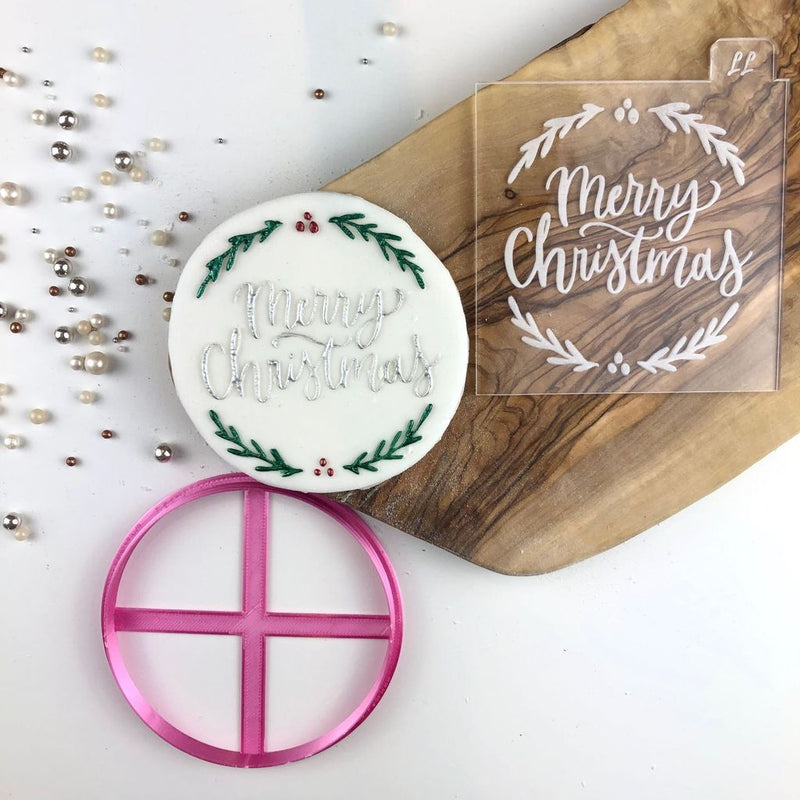 Merry Christmas with Mistletoe Cookie Cutter and Embosser (LissieLou)
