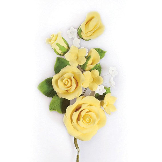 Yellow Wired Flowers-Roses 145mm