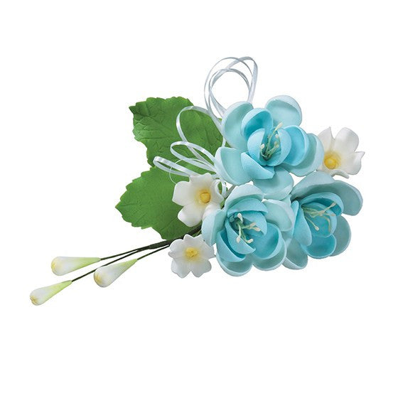 Gumpaste Pear Rose Blue Wired Flowers-Roses 4.5""