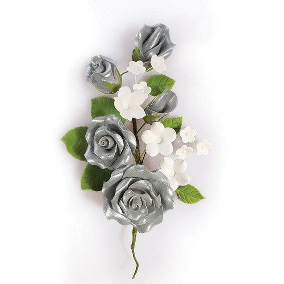 Silver Wired Flowers-Roses 145mm