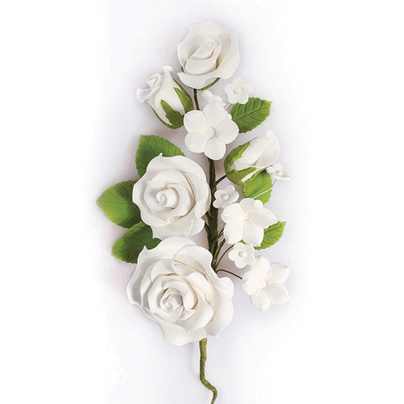 White Wired Flowers-Roses 145mm