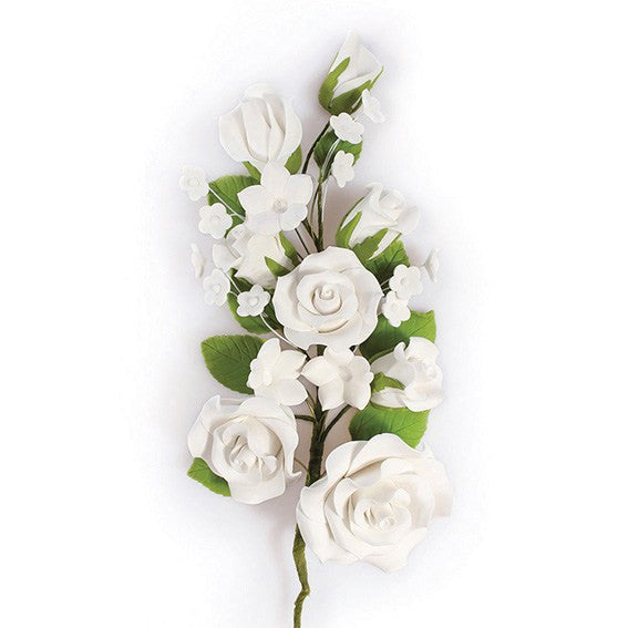 White Wired Flowers-Roses 170mm