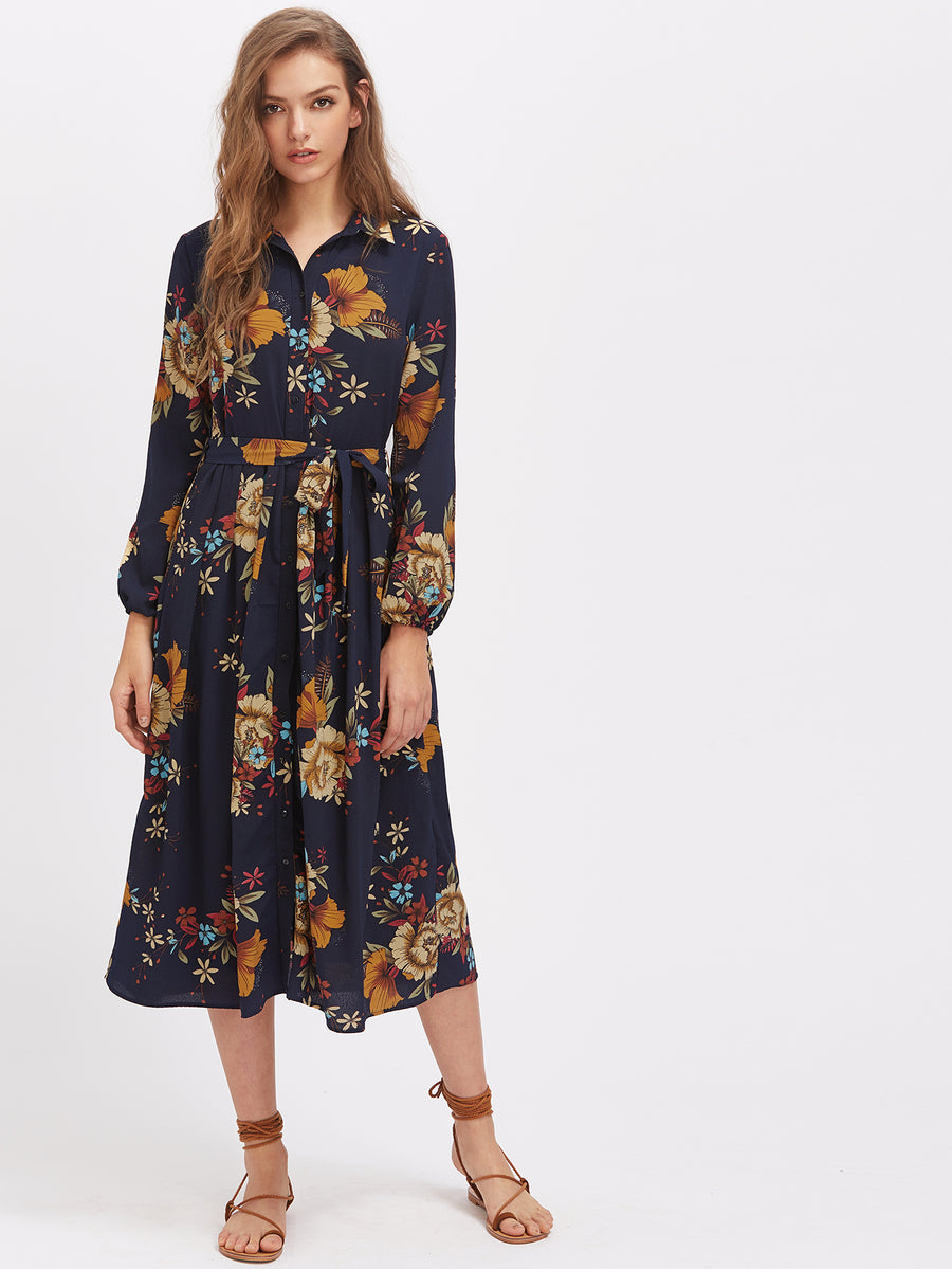 Navy Floral Button Front Midi Dress