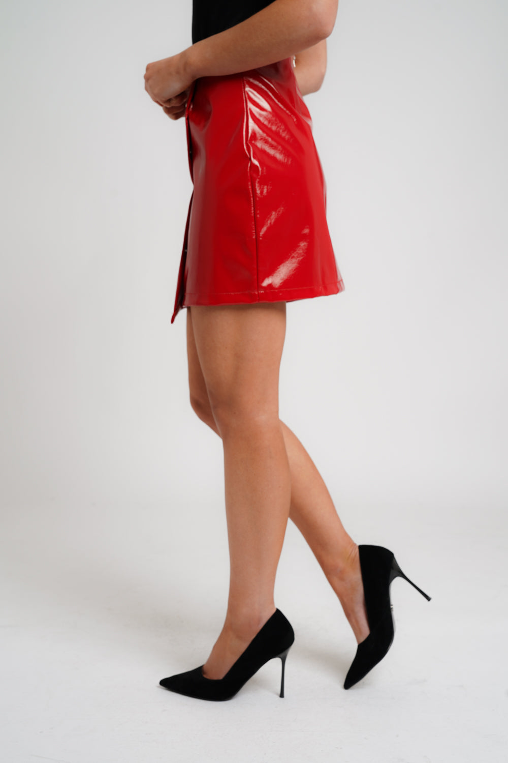 Wrap pu mini skirt in red