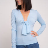 Pastel Blue Tie Bow Top