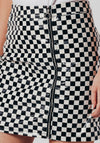 Black and White PU Check Skirt
