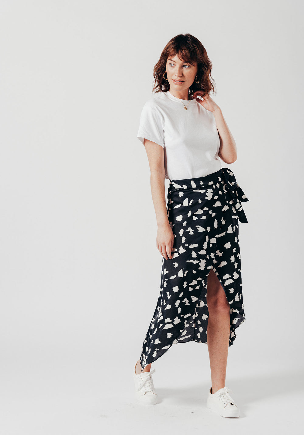 Black & White Print Wrap Over Skirt
