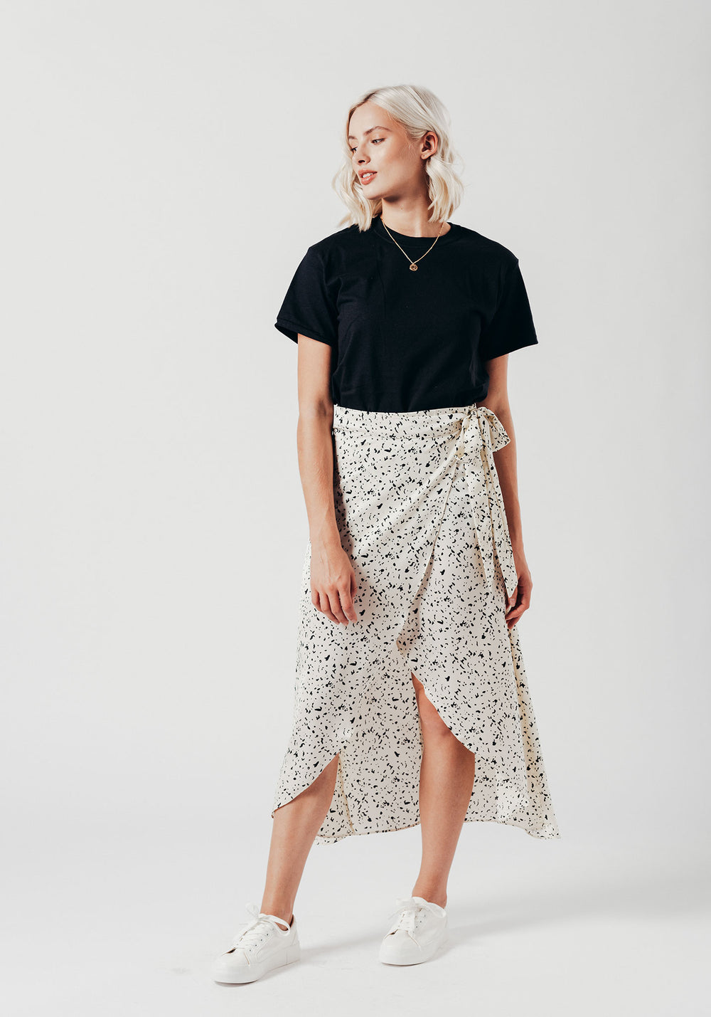 White Print Wrap Over Skirt