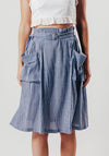 Blue Midi Skirt With Side Pockets and Belt