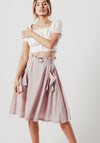 Lilac Midi Skirt With Side Pockets and Belt