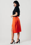 Orange Asymmetric Skirt With O-Ring Detail