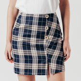 Navy Check Button Up Mini Skirt