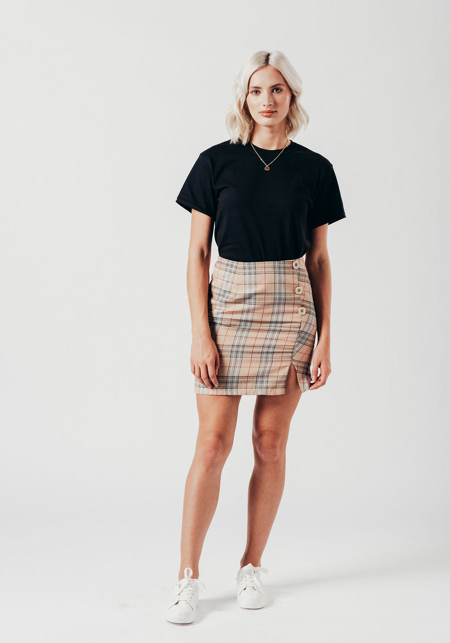 Check Button Down Mini Skirt