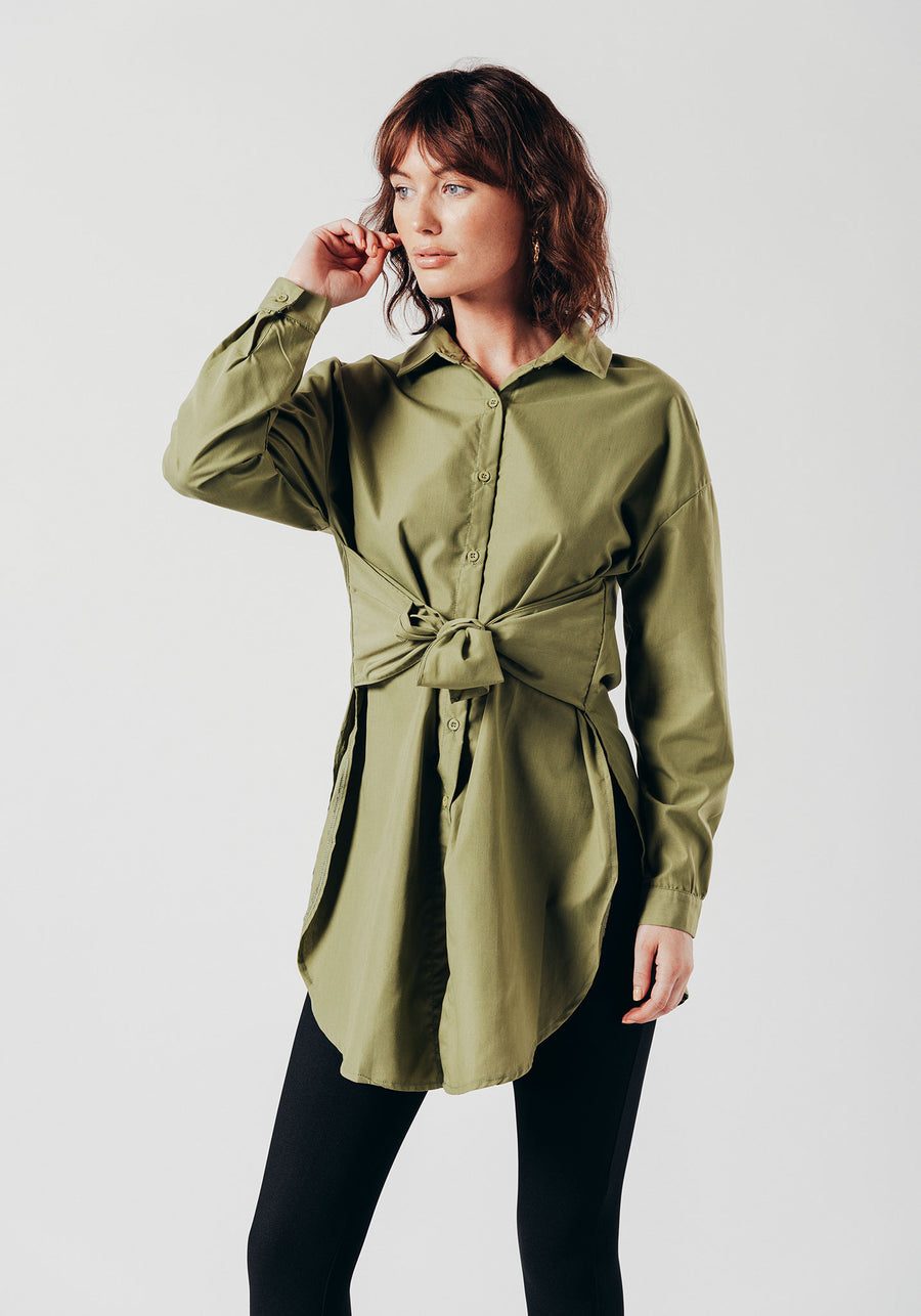 Green Long Sleeve Shirt with Front Tie