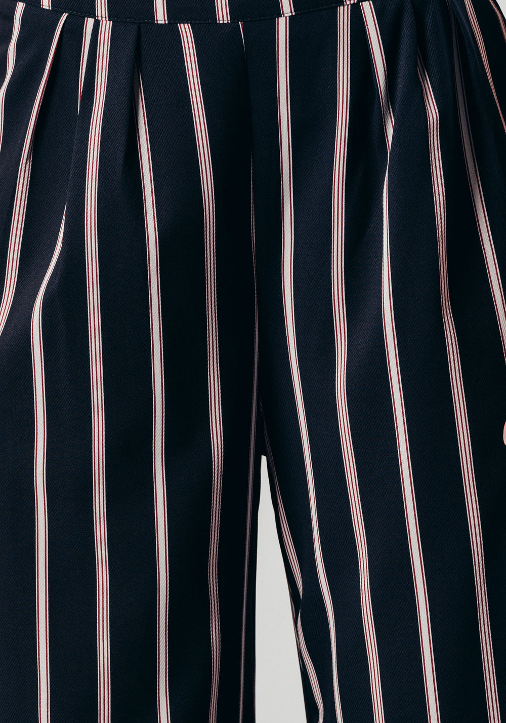 High-waist Navy Stripe Printed Trousers