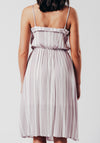 Purple And White Stripe Midi Dress With Button Detail