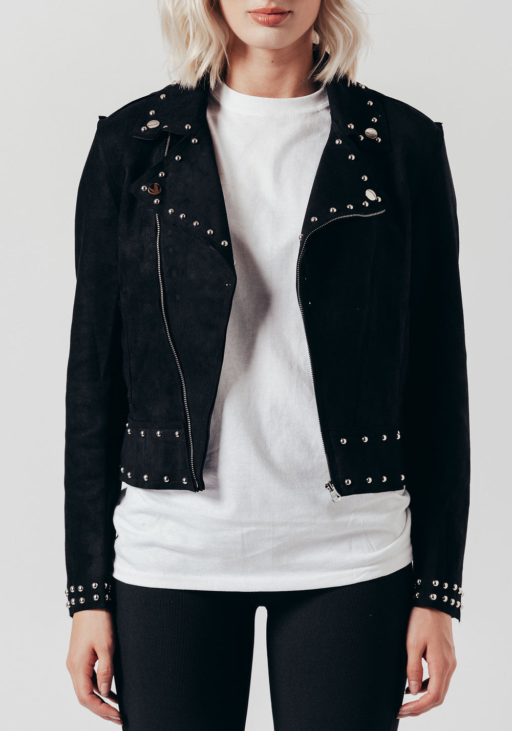 Black Faux Suede Studded Jacket