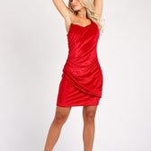 One Shoulder Red Velvet Dress