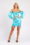 Blue Satin Bardot Mini Dress