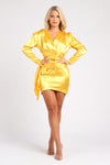 Yellow Satin Mini Dress with Long Sleeves