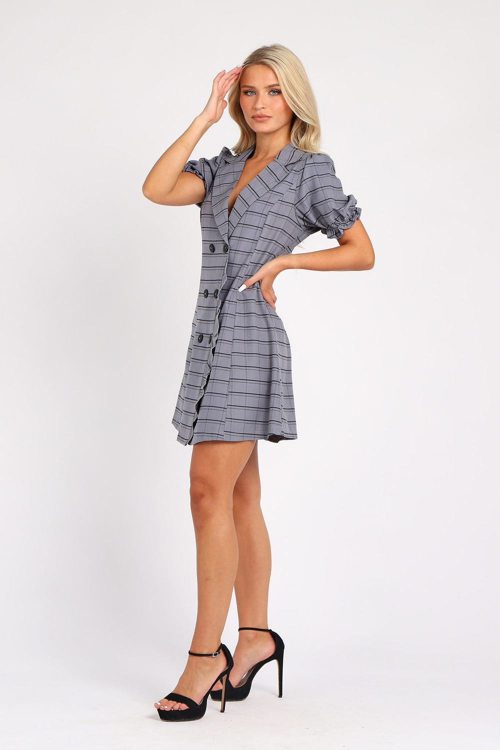 Mini Shirt Dress in Deep Grey Check Print